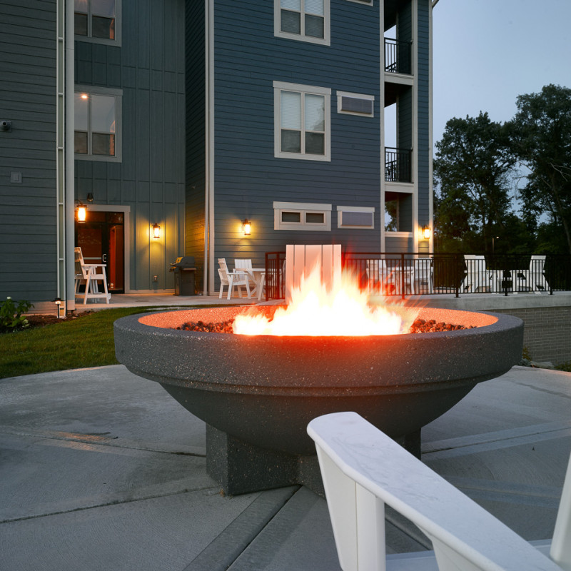 Turnberry Apartments patio fireplace
