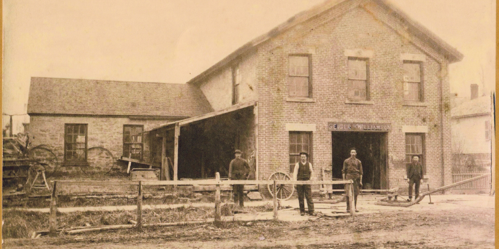1890 photo of the Geiger and Williamson blacksmith shop, Madison, WI